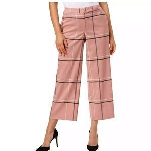 Alfani Pink Plaid Wide Leg Belted Ankle Pants